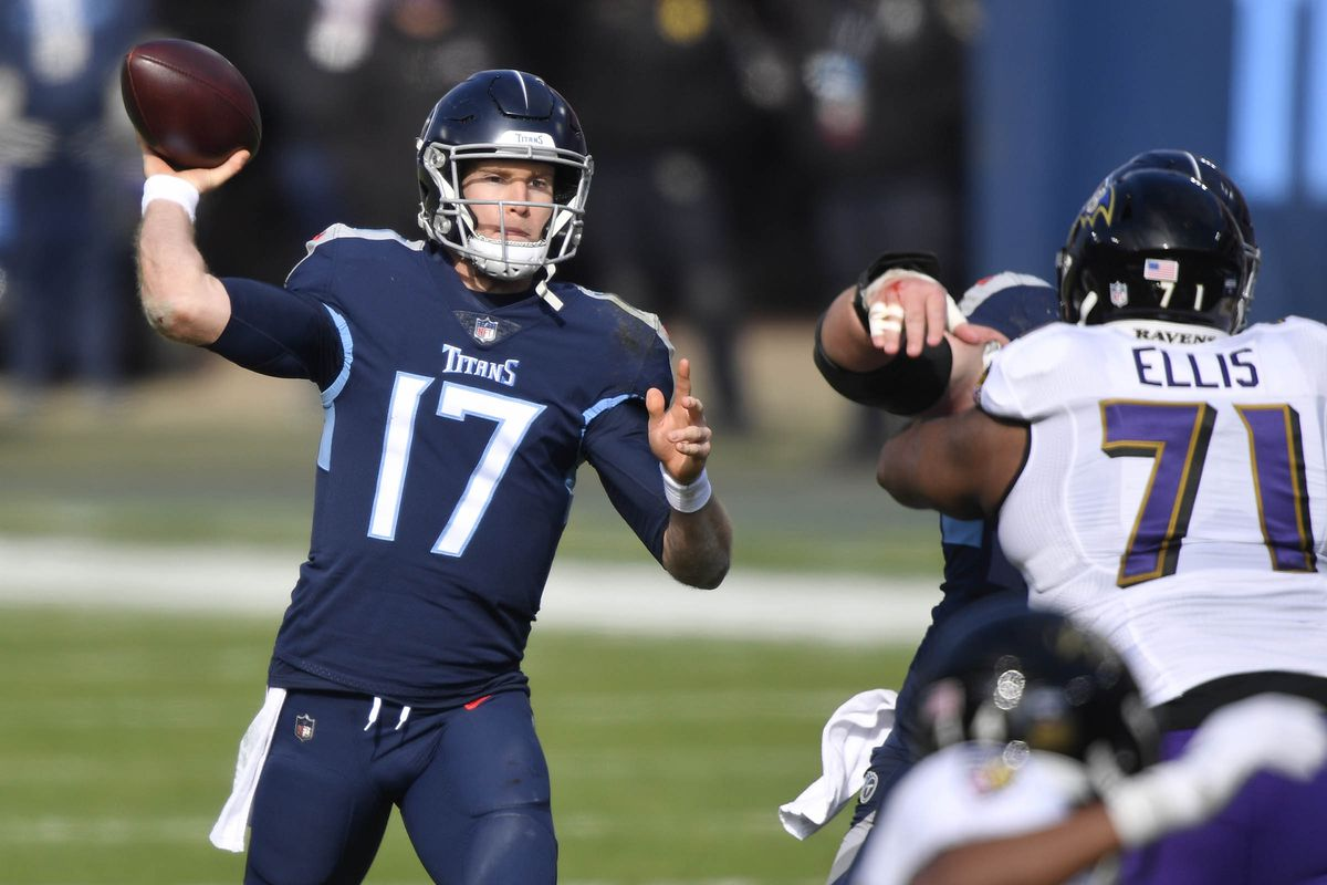 Tennessee Titans quarterback Ryan Tannehill  throws to Tennessee Titans wide receiver A.J. Brown during the Tennessee Titans game against the Baltimore Ravens.