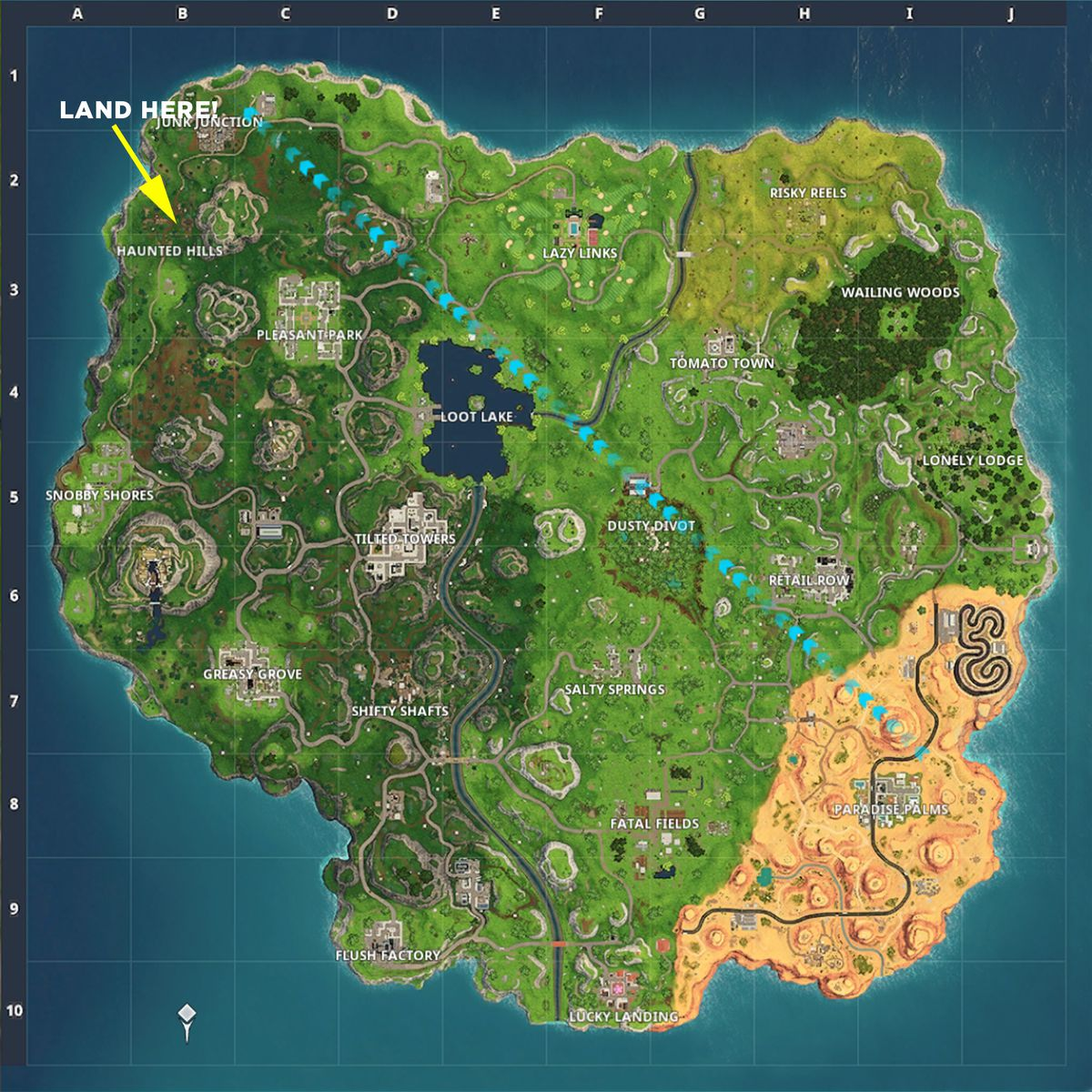 Follow The Treasure Map Found In Snobby Shores Fortnite
