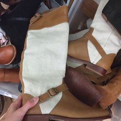 Asher canvas and leather long boot, $50 (was $395)