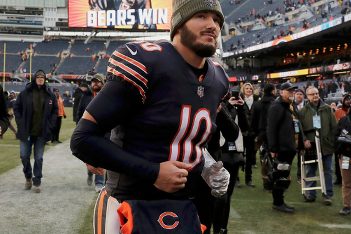 f128cfdd8 Bears quarterback Mitch Trubisky runs off the field after a victory Sunday  against the Lions at Soldier Field. (AP Photo Nam Y. Huh)