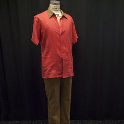 The Montague men wear red shirts and brown pants.