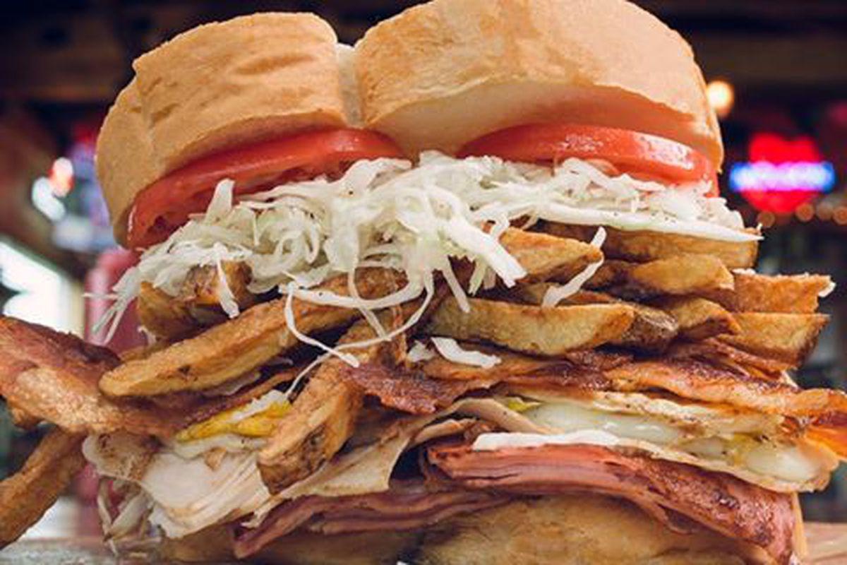 A gargantuan sandwich from Primanti Bros.