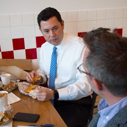 Rep. Jason Chaffetz, R-Utah, at Five Guys Burgers and Fries, his favorite burger place, on Wednesday, March 22. An admitted junk food addict, Chaffetz has apps for both McDonald's and Five Guys on his phone.