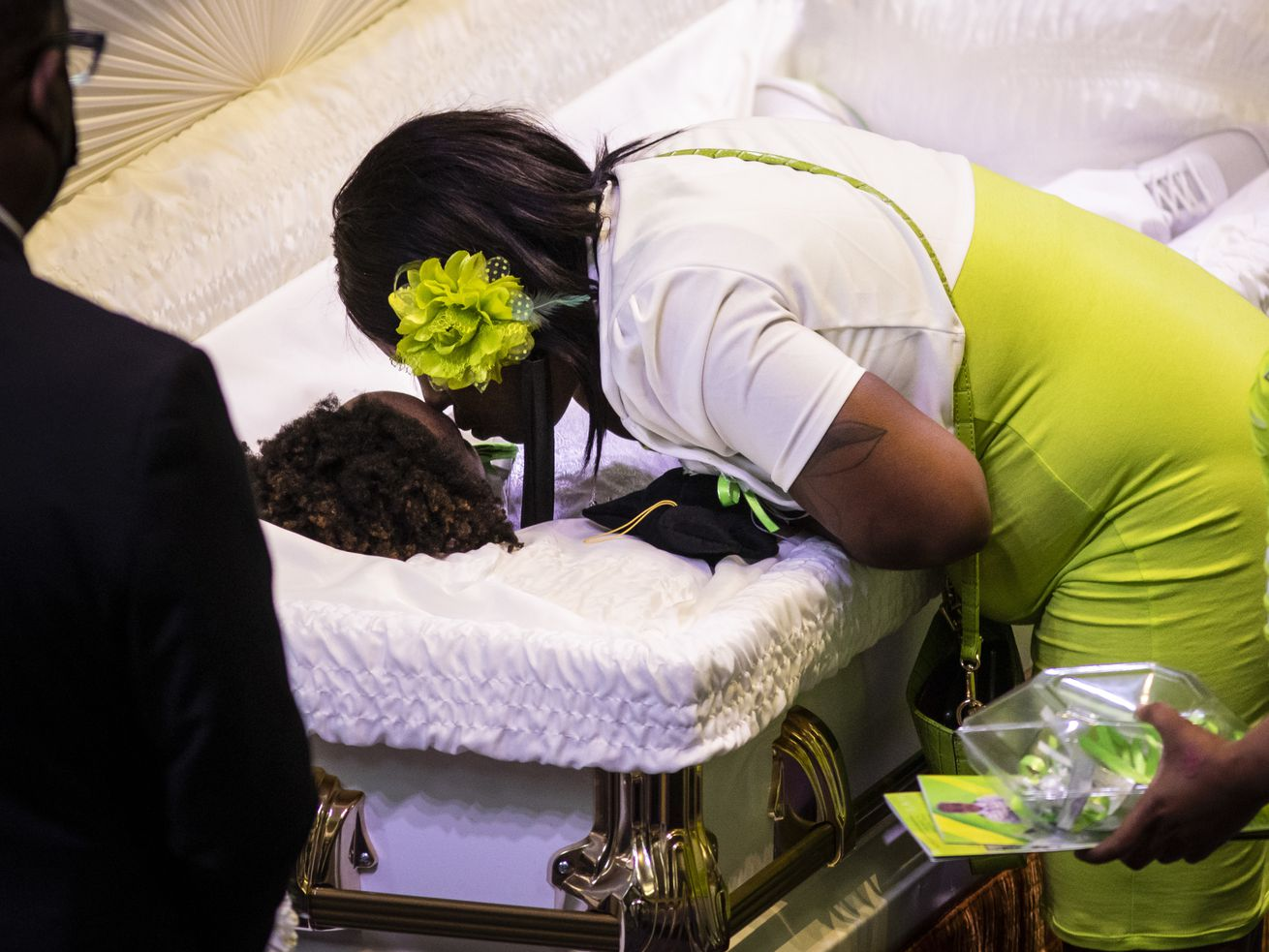 Teirra Black kisses her son, 13-year-old Jamari Dent, during his funeral at Greater Harvest Baptist Church at 5141 S. State St. in Washington Park on the South Side, Tuesday, June 22, 2021. His family said he suffered permanent brain damage when he hanged himself in a suicide attempt in 2019 after months of bullying by Chicago Public Schools staff and students.