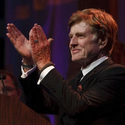"""Robert Redfor thanks the crowd for the tribute. For all his contributions to the state of Utah, Robert Redford was recognized and honored by Governor Gary Herbert at a gala in his honor, """"The Governor's Salute to Robert Redford: A Utah Tribute to an American Icon"""" at the Grand America Hotel, Saturday, November 9, 2013. Redford is an actor, director, producer, philanthropist, businessman, environmentalist, and founder of the Sundance Resort, the Sundance catalog, and the Sundance Institute which hosts the Sundance Film Festival."""