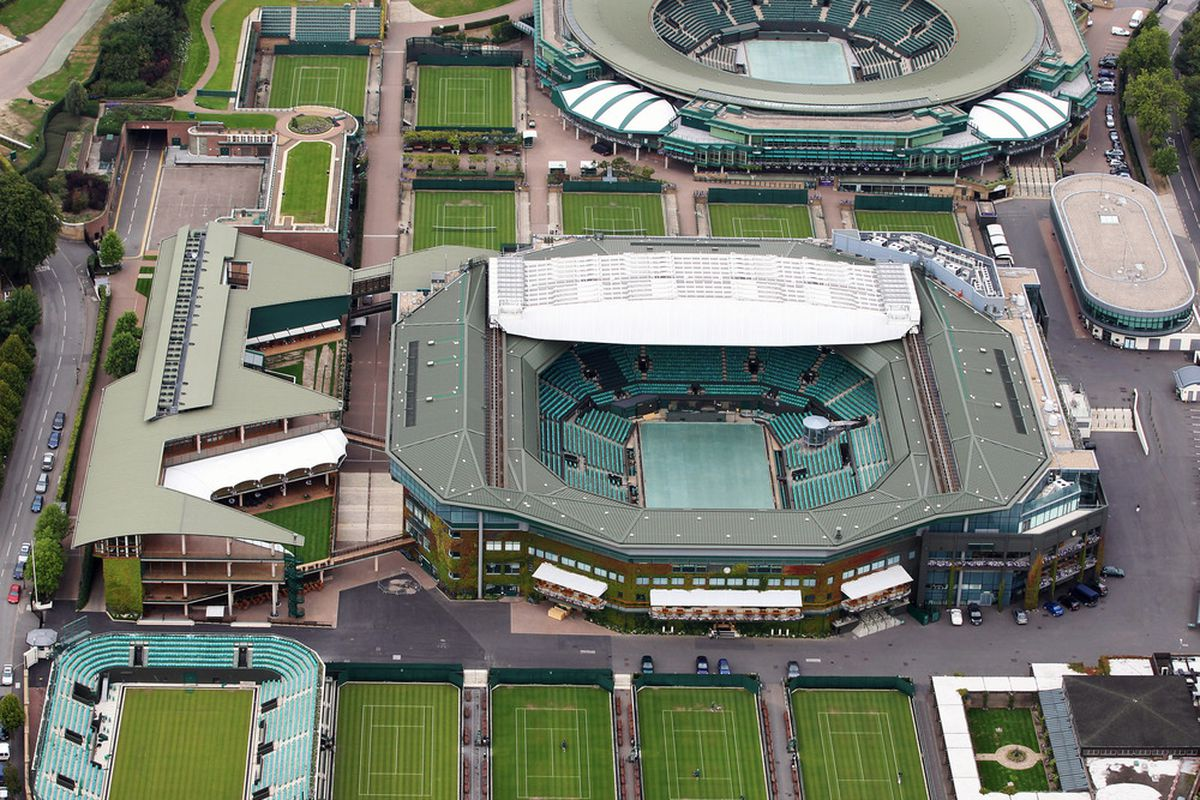 LONDON, ENGLAND - JULY 26:  Aerial view of Wimbledon, home of AELTC which will host the Tennis events during the London 2012 Olympic Games on July 26, 2011 in London, England.  (Photo by Tom Shaw/Getty Images)