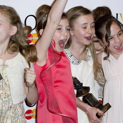 From left, Best Actress in a Musical winners, Sophia Kiely, Eleanor Worthington Cox, Kerry Ingram and Cleo Demetriou of Matilda The Musical pose in the press room at the Olivier Awards at the Royal Opera House, London,  Sunday, April 15, 2012.