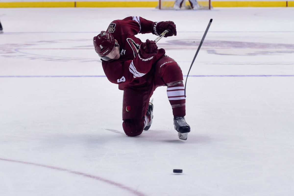 Connor Murphy broke his stick on this shot.  Bummer.