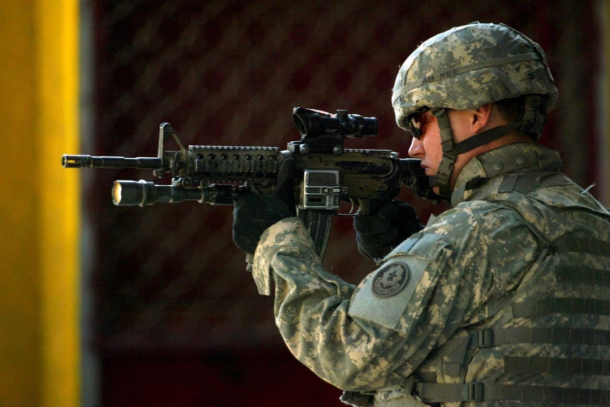 A US soldier patrolling in Baghdad in 2008.