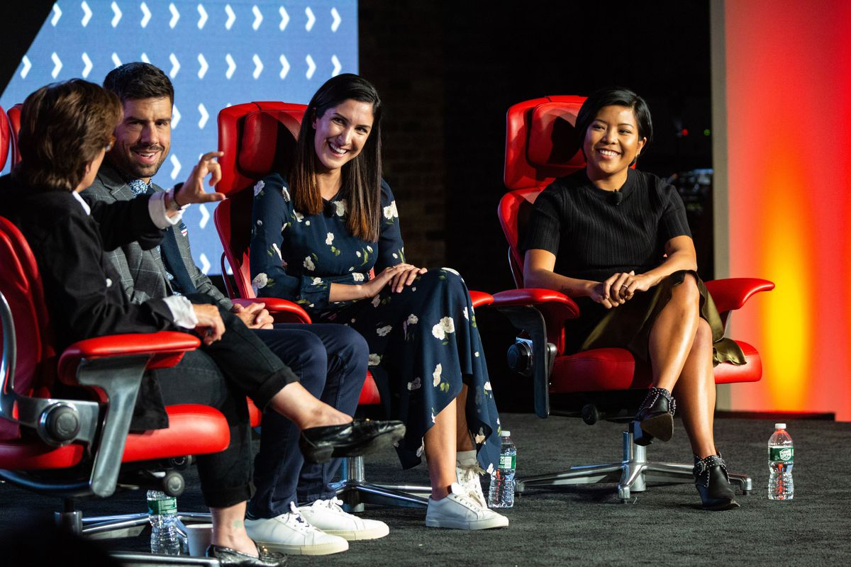 Kara Swisher, Jason Del Rey, Jen Rubio, and Steph Korey seated onstage at the 2019 Code Commerce Conference.
