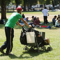 Homeless residents are treated to a picnic lunch in Pioneer Park in Salt Lake City on Sunday, Aug. 27, 2017. Participants also received a new blanket and listened to live music.