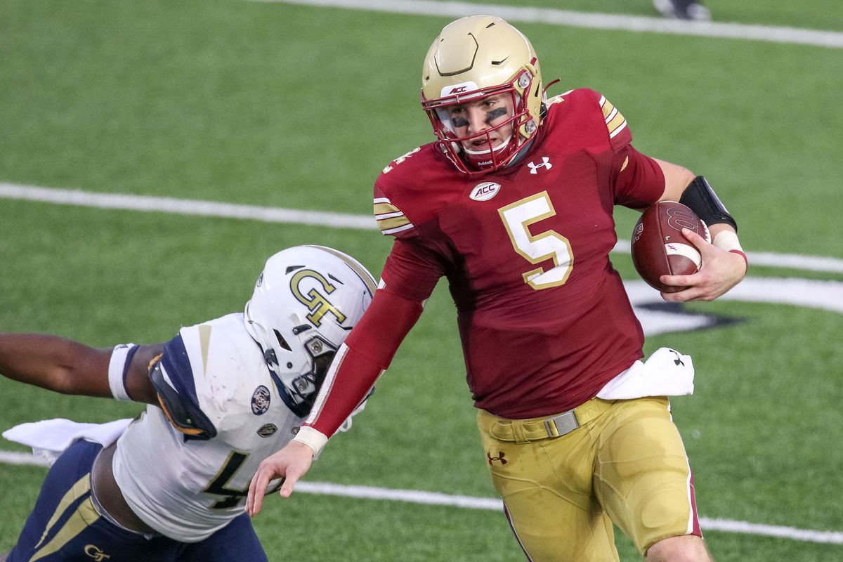 Boston College Eagles quarterback Phil Jurkovec (5) runs the ball during the first half against the Georgia Tech Yellow Jackets at Alumni Stadium. Mandatory Credit: Paul Rutherford