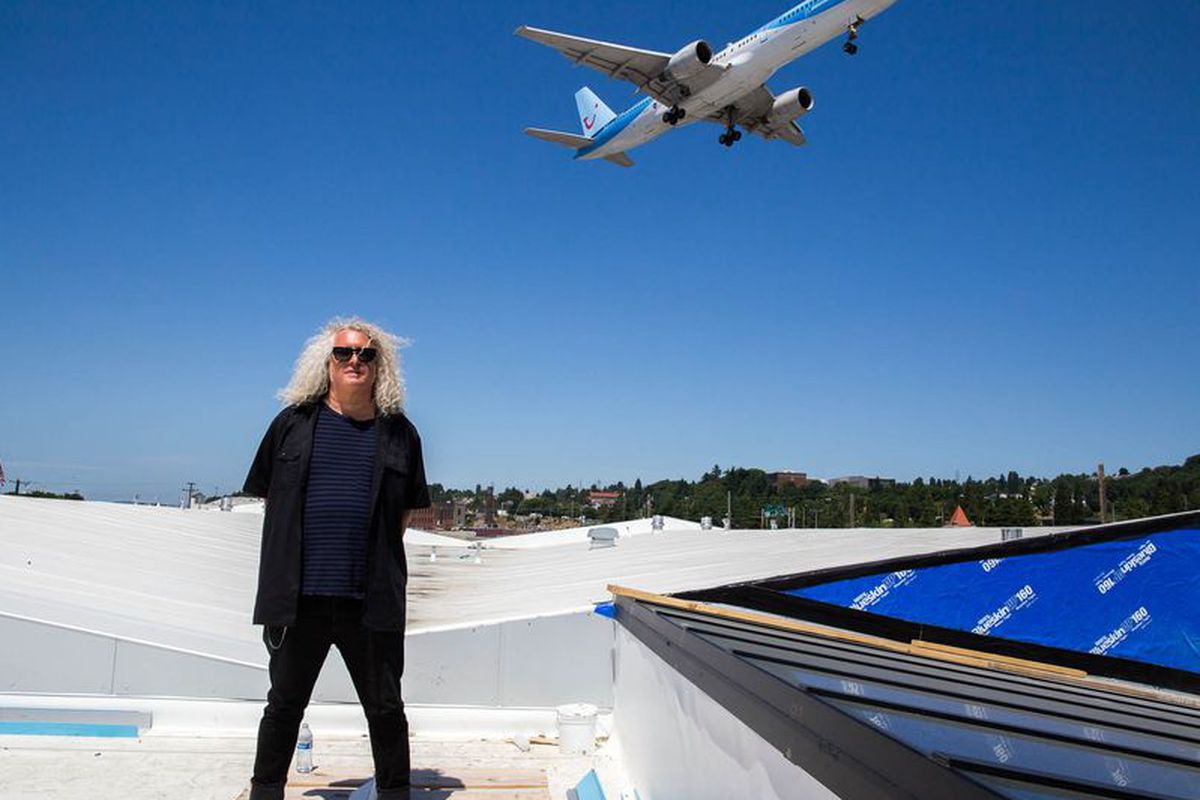 Charles Smith on the roof of his new Charles Smith Wines Jet City