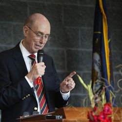 President Henry B. Eyring, first counselor in the First Presidency of the Church of Jesus Christ of Latter-day Saints, dedicates the Thomas S. Monson Lodge at the Hinckley Scout Ranch in the Uinta Mountains on Wednesday, Oct. 5, 2016.