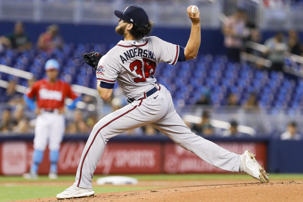 Atlanta Braves starting pitcher Ian Anderson (36) delivers a pitch during the first inning against the Miami Marlins at loanDepot Park.
