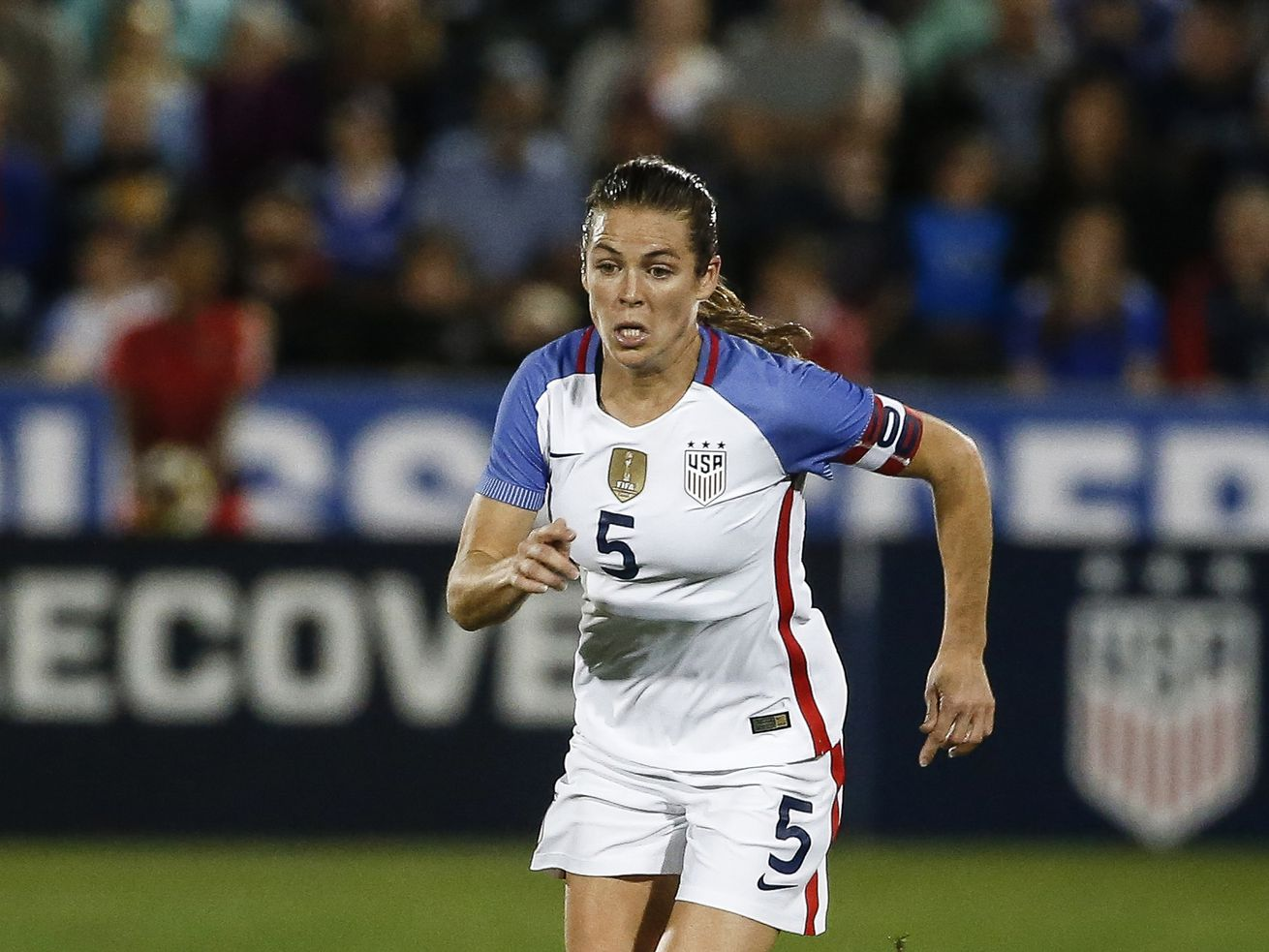U.S. defender Kelly O'Hara (5) plays against New Zealand during the first half of an international friendly soccer match in Commerce City, Colo., Friday, Sept. 15, 2017.
