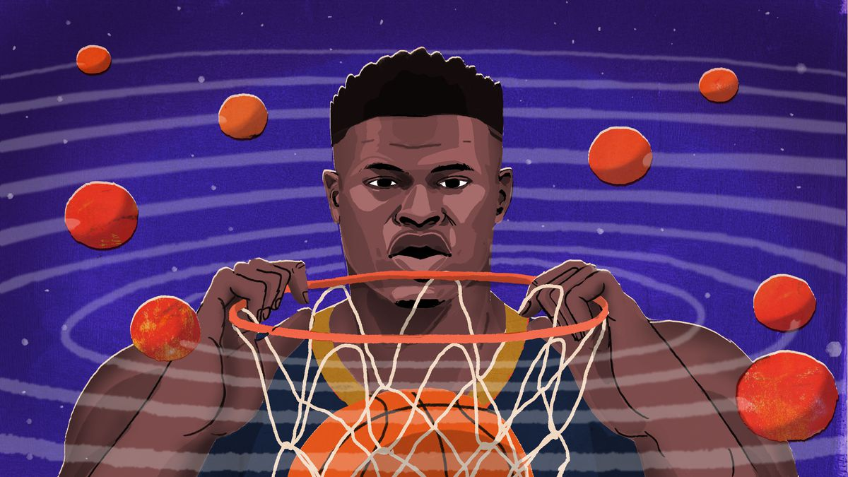 An illustration of Zion Williamson dunking a basketball surrounded by planets shaped like basketballs