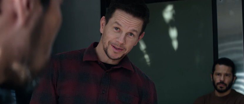 Mark Wahlberg wearing a red-and-blue plaid shirt