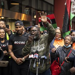 Maze Jackson speaks during a rally outside the Chicago Housing Authority headquarters in the Loop, decrying economic disparities for black communities in the city, Monday morning, May 3, 2021.