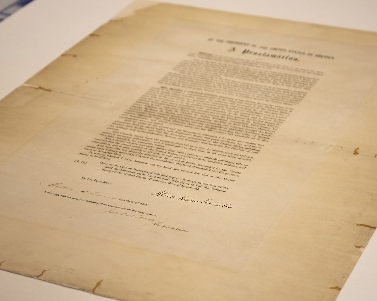 The Abraham Lincoln Presidential Library and Museum's rare, signed copy of the Emancipation Proclamation.