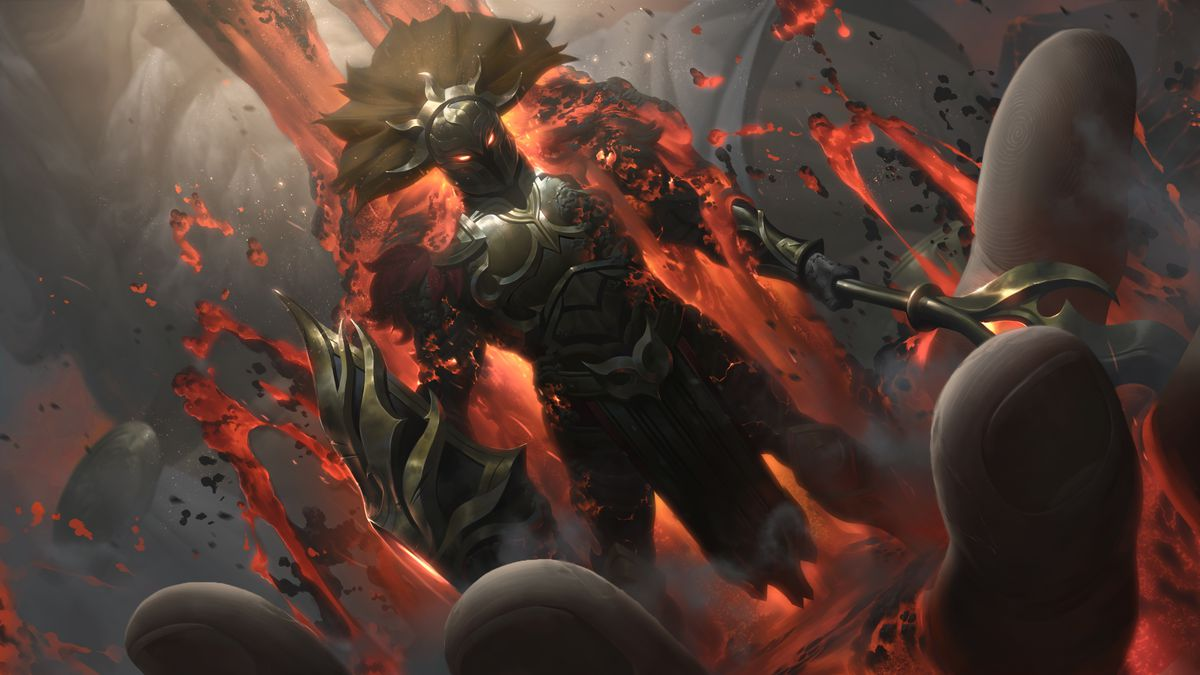 Myrmidon Pantheon's splash art, which features him standing in the palm of a large hand with magma pouring over him