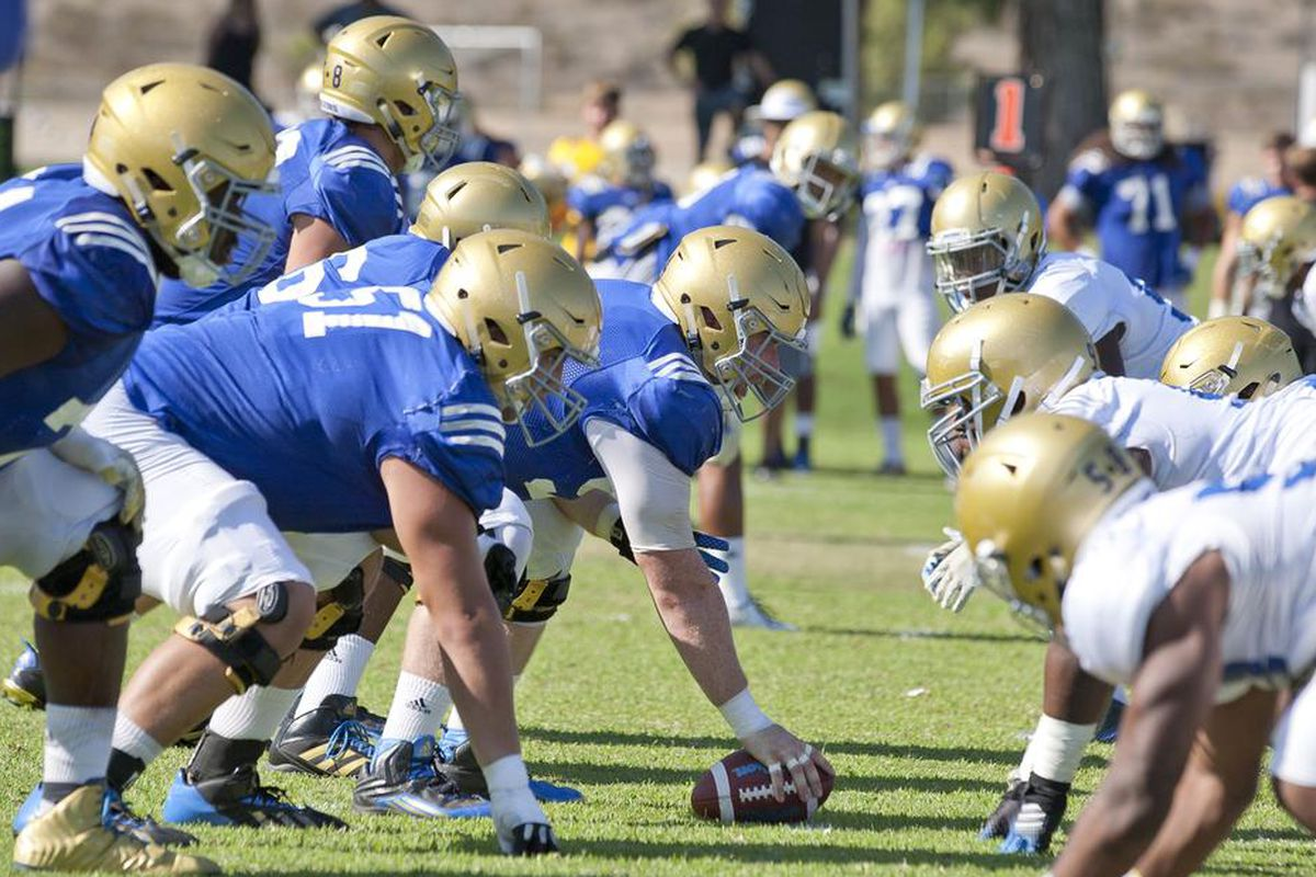 UCLA practiced in full pads for the first time yesterday.