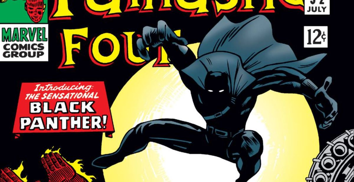 From the cover of The Fantastic Four #52, Black Panther's first appearance, Marvel Comics, 1966.