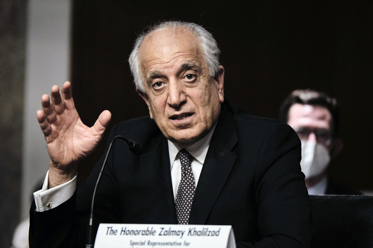 Zalmay Khalilzad, special envoy for Afghanistan Reconciliation, testifies before the Senate Foreign Relations Committee on Capitol Hill in Washington, April 27, 2021, during a hearing on the Biden administration's Afghanistan policy and plans to withdraw troops after two decades of war.