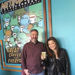 Ji Suk Yi with Dan Miracle of Metropolis Coffee.   Brian Rich/ Sun-Times