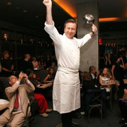 """Boulud does a mean impression of Tevye from <i>Fiddler on the Roof</i>.   (<a href=""""http://guestofaguest.com/wp-content/uploads/2009/05/0_6337901256996312503629851_9_dboulud_5-26-09_687.jpg"""" rel=""""nofollow"""">photo</a>)"""