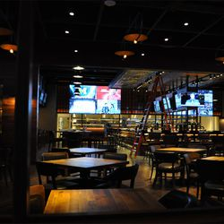 The sports bar is not short of TV screens.