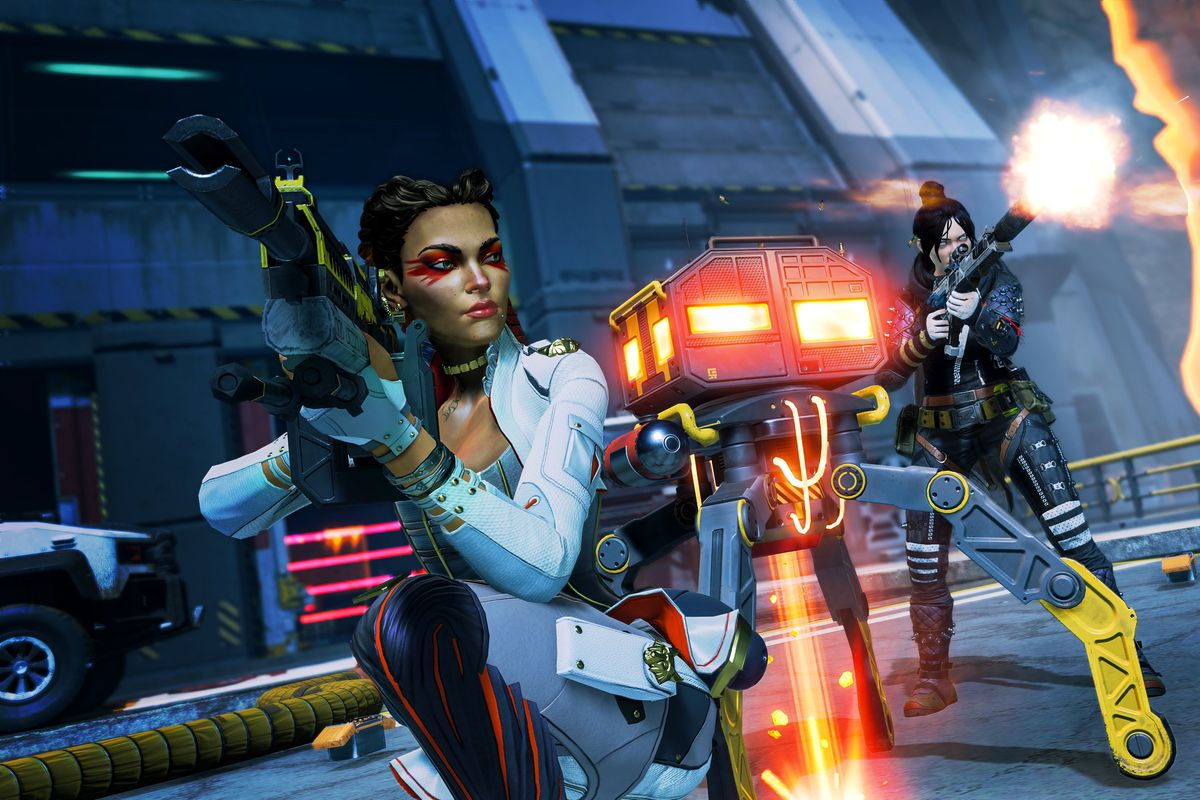 an Apex Legends screenshot of Loba crouched next to a robot with Wraith behind them