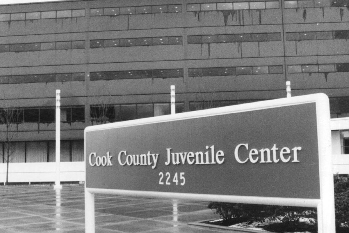 Sign outside the Cook County Juvenile Temporary Detention Center