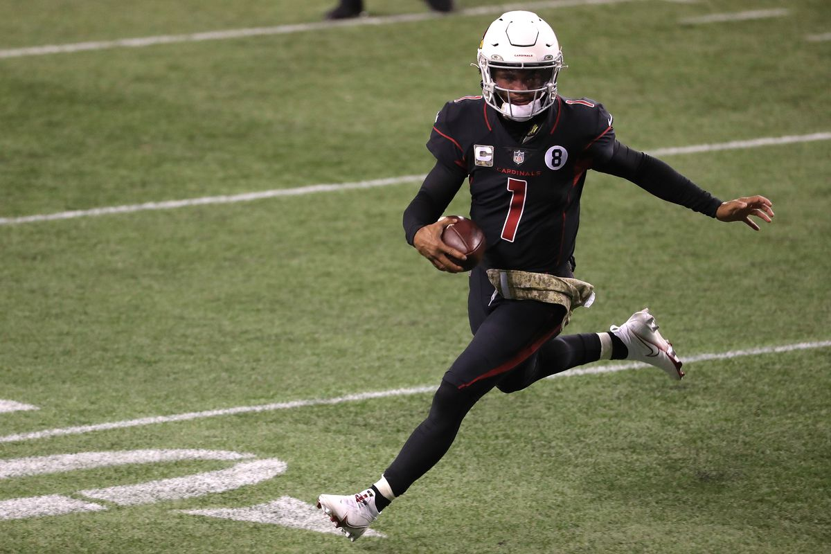 Kyler Murray #1 of the Arizona Cardinals runs with the ball in the fourth quarter against the Seattle Seahawks at Lumen Field on November 19, 2020 in Seattle, Washington.