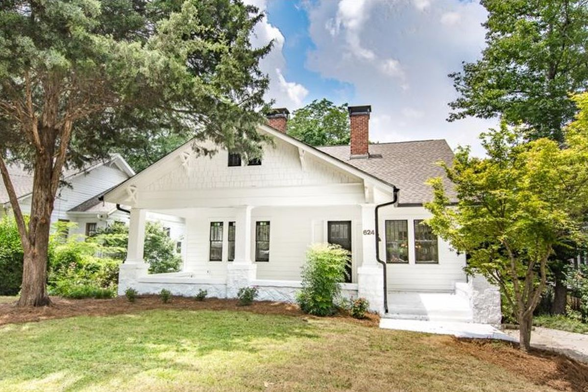 A bright white home for sale in Atlanta's Poncey-Highland neighborhood.