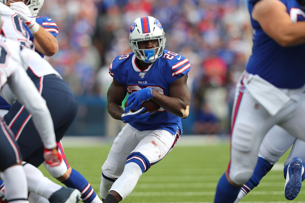 Frank Gore of the Buffalo Bills runs the ball during the second half against the New England Patriots at New Era Field on September 29, 2019 in Orchard Park, New York.