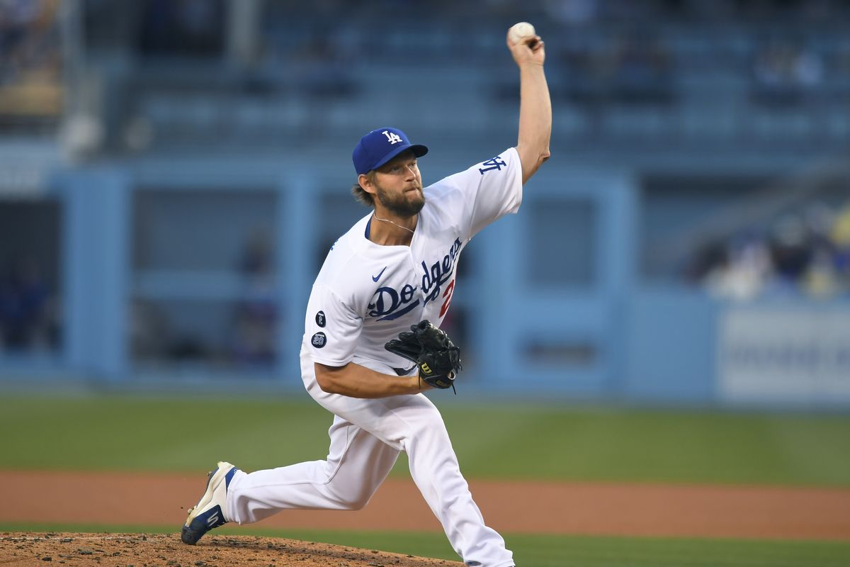 Clayton Kershaw (22) of the Los Angeles Dodgers pitches in the third inning against the Texas Rangerson June 11, 2021 at Dodger Stadium in Los Angeles, CA.