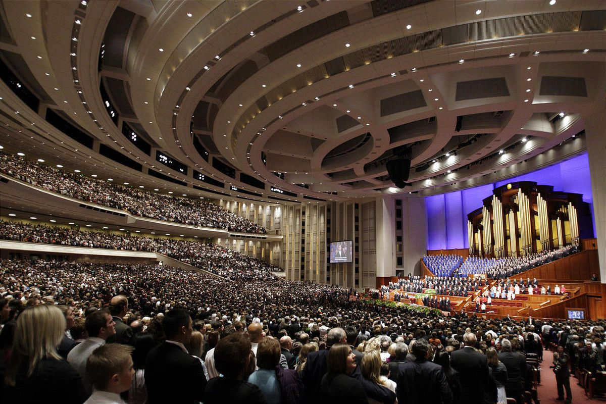 Members assemble during general conference to hear church leaders. A BYU professor has created a database of all conference talks since 1851.