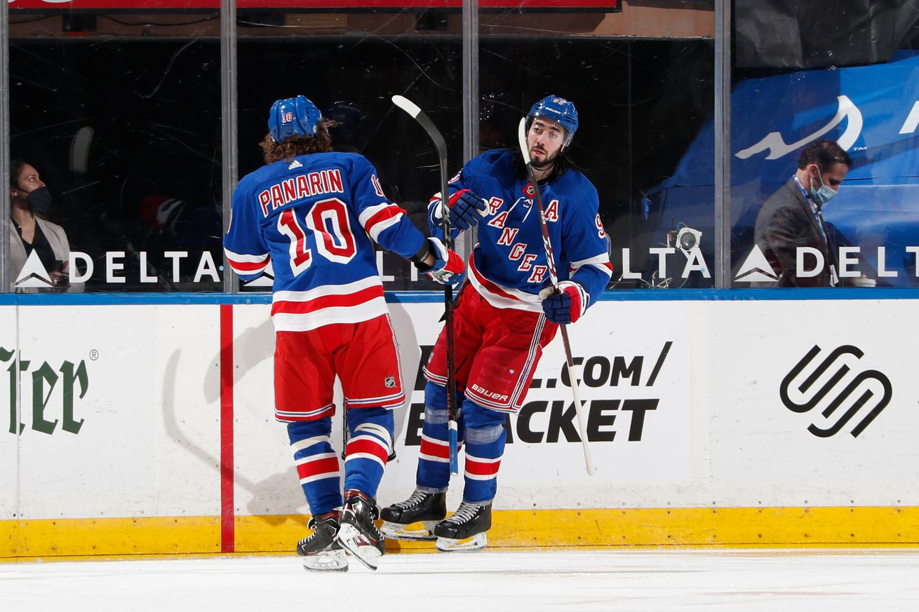 Mika Zibanejad #93 and Artemi Panarin #10 of the New York Rangers celebrate after scoring a goal in the second period against the Washington Capitals at Madison Square Garden on May 3, 2021 in New York City.