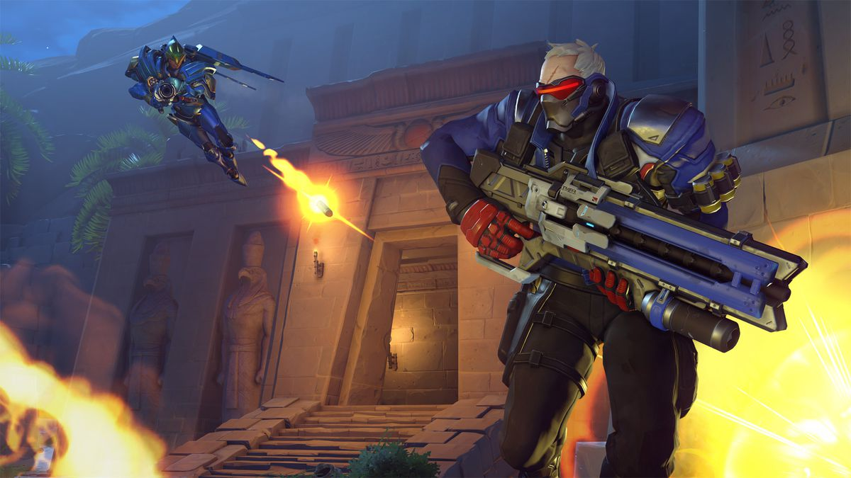 Overwatch Anniversary event - Pharah firing at Soldier: 76