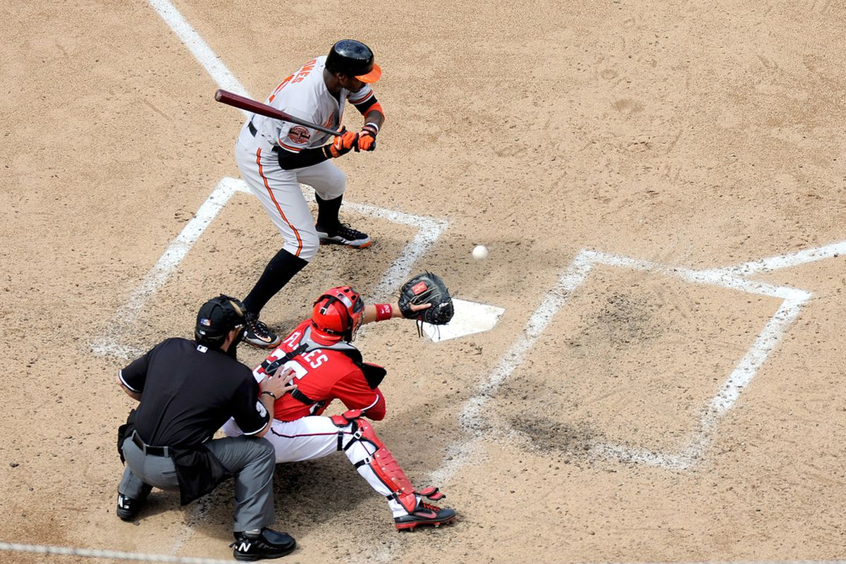 WASHINGTON, DC - MAY 20: Adam Jones #10 of the Baltimore Orioles is called out on strikes in the sixth inning against the Washington Nationals during interleague play at Nationals Park.