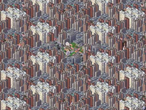 A screenshot from SimCiy 3000 depicting Magnasanti with the same drab buildings repeating in symmetrical patterns.