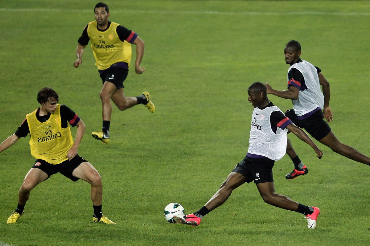 BEIJING, CHINA - JULY 26: Benik Afobe of Arsenal in action during the training session during the club's pre-season Asian tour at the Olympic Sports Centre on July 26, 2012 in Beijing, China.  (Photo by Lintao Zhang/Getty Images)