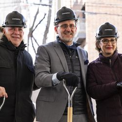 (From left) Gordon Gill, of Adrian Smith + Gordon Gill Architecture, Steppenwolf Theatre executive director David Schmitz and Anna Shapiro, artistic director of Steppenwolf, smile for a photo after the company breaks ground on a campus expansion and unveils plans for a new theater building on Halsted Street, Tuesday, March 5, 2019. | Ashlee Rezin/Sun-Times