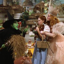 """The Wicked Witch of the West (Margaret Hamilton), Dorothy (Judy Garland) and Glinda (Billie Burke) in """"The Wizard of Oz."""""""