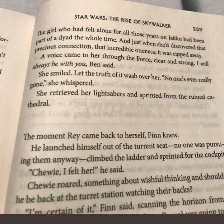 Finn's Force powers from the Rise of Skywalker Novelization