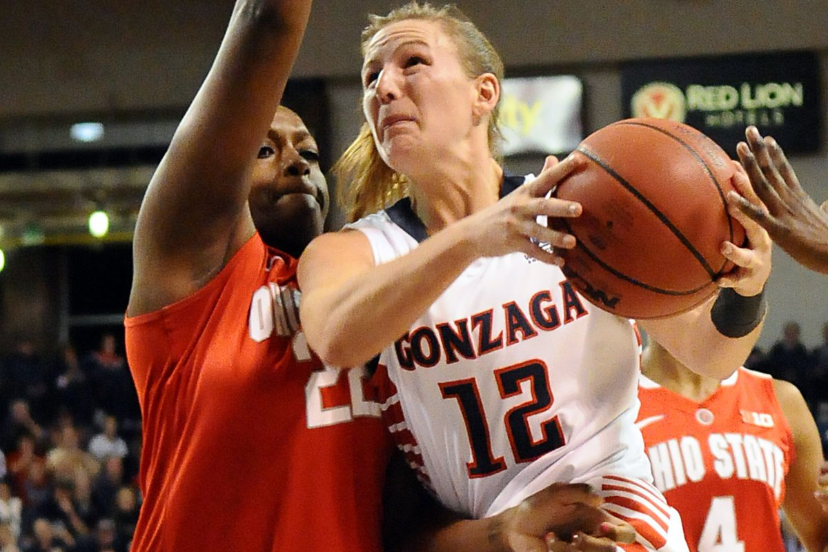 2013 WCC Player of the Year Taelor Karr is looking to lead Gonzaga to the WCC conference tournament title.