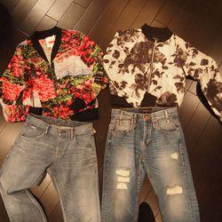 Tracy Reese Bomber Jacket (L), $328; Calvin Rucker Rose Garden Jacket (R), $638