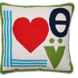 """<a href=""""http://www.jonathanadler.com/Mod-Love-Needlepoint-Pillow/?cat=564"""">Mod Love Needlepoint Pillow</a>, $175 at Jonathan Adler"""