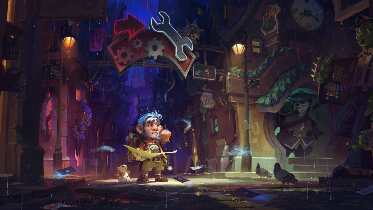 This is key art for the Hearthstone: Mean Streets of Gadgetzan expansion set. In the art, a scared-looking gnome stands in the middle of a city street, with a mechanical sign and tall buildings looming on all sides. Against one nearby wall, an orc has ope
